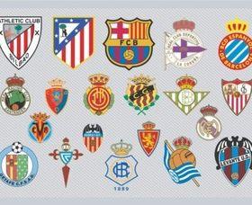 Spanish Football Team Logos shiny vector