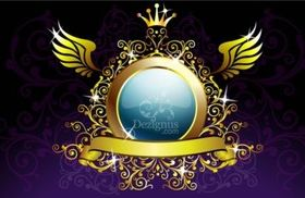 Gold Decoration Shield vectors