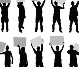 People with Signs Vector