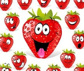 Strawberry facial cartoon Illustration vector