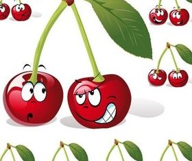 Cartoon cherry set vector