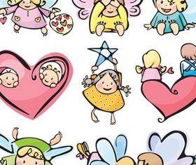 Funny Cartoon Angels vector set