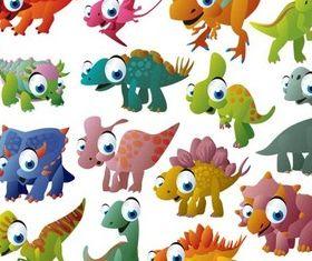 Funny Cartoon Dinosaurs vector
