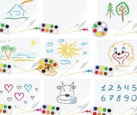 Drawn school pictures vectors