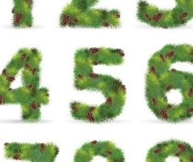 Green tree digits vector graphic