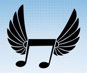 Winged Music Note vector