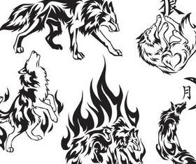 Tattoo wolf graphic vector