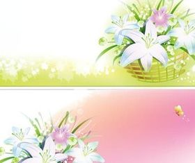 Banners with bouquets vector