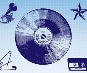 Vintage Music Images vector material