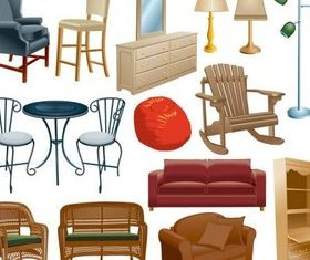 Different Home Furniture Vector shiny