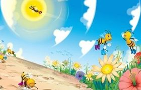 Cute cartoon bee set vector