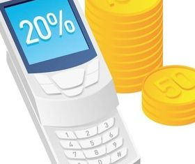 Mobile phone calculator figure vector