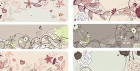 Fashion cute bird flowers vectors material