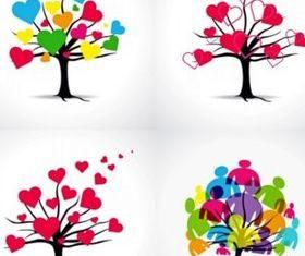 Color love tree shiny vector