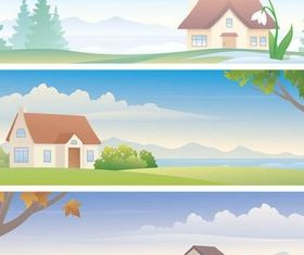 Different Season Banners vector
