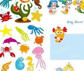 Cartoon marine shiny vector