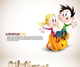 Lovely children design vectors