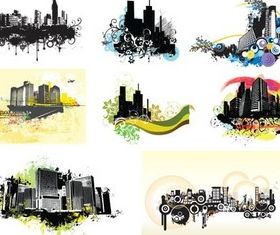 City Bright Grunge Elements vector