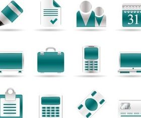 Turquoise Office Icons vector