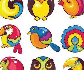 Cute Funny Birds free set vector