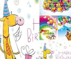 Cute cartoon happy birthday design vector