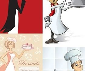 Cartoon image waiter vectors graphic