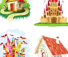 Cartoon castle and house vector