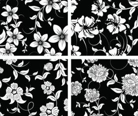 Vintage Black and white flower decoration vector