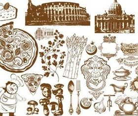 Food Vintage Icons vector