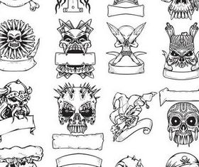 Tattoo with skulls free shiny vector
