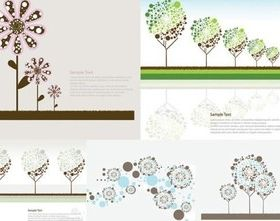 flowers and trees cute vector