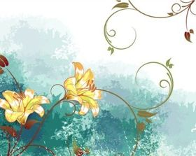 Elegant watercolor flower set vectors graphics