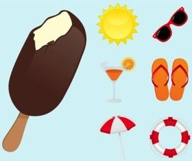 Summertime Icons vectors material
