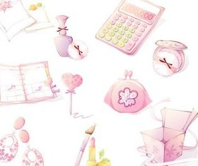Pink Girls Objects set vector