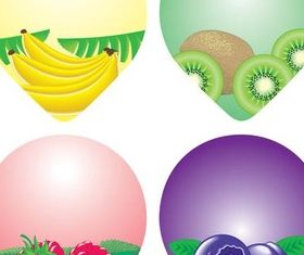 Colorful Fruit Labels vector graphic