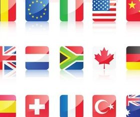 Countries Glass Symbols free vector