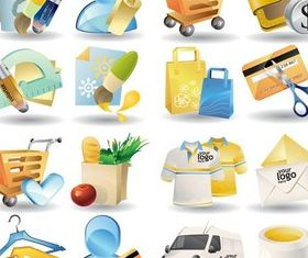 Color Shopping Icons vector