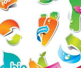 Bio Style Stickers design vectors