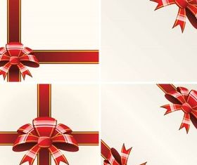Red Bows Cards vectors graphic