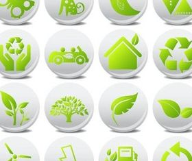 Round Ecology Icons set vector