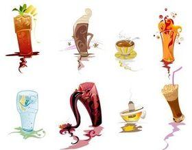 Cartoon drinks set vector
