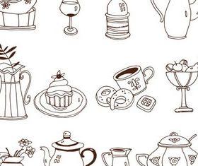 Drawing Kitchen Elements vector set