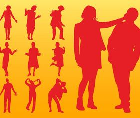 People Silhouettes Layouts vector