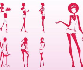 Glamour Girls Silhouettes vector design