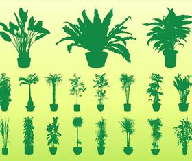 Potted Plants Silhouettes vector