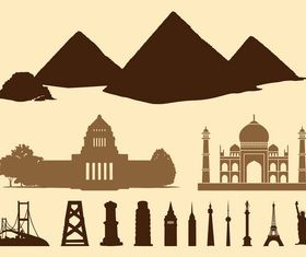 Buildings And Landmarks shiny vector