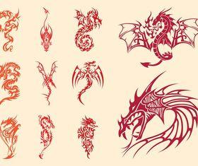 Dragons Tattoos Set set vector