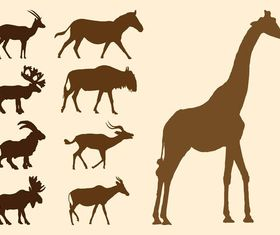 Wild Animals Silhouettes Set vector graphics