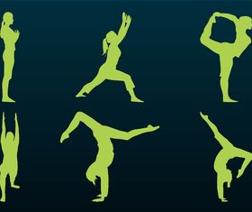 Flexible People Silhouettes art vector set