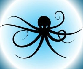 Octopus Silhouette Illustration vector